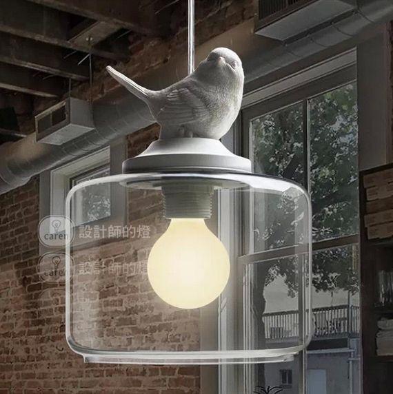 Vintage Classic DIY Big Ceiling Fat Bird Lamp Light Glass Pendant Lighting Home