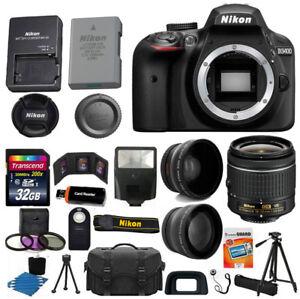 Nikon-D3400-Digital-SLR-Camera-3-Lens-Kit-18-55-VR-Lens-32GB-Best-Value-Bundle