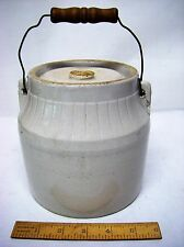 Vintage Stoneware Fruit / Canning Jar Crock #5 w/ Lid - Wire Bail & Wood Handle