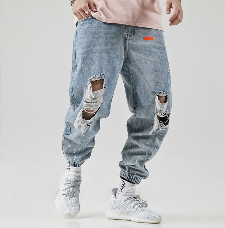 2019 New Fashion Hole Jeans Youth Mens Trend Street Loose Harlan Beam Feet Pants