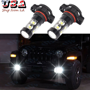 2504 PSX24W White LED Fog Driving Light Bulbs For Jeep Wrangler JL 2010-2020