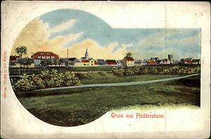 Worms-Pfeddersheim-Rheinland-Pfalz-1910-Panorama-Kirche-Stadt-Wohnhaeuser-Haeuser