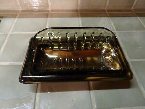 beau  porte savon vintage céramique  a poser ou encastrer====mordoré 24cmx13