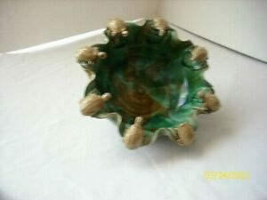 Vintage Pottery Bowl Planter Green & Brown 8 turtles