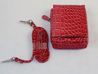 Buxton Media Organizer Purse For Phone/ipod/camera W/strap Red Mock Crock