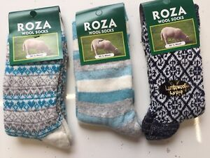 *4 PAIRS WOMEN LADIES WOOL HIGH QUALITY CHUNKY THERMAL BOOT SOCKS  Size 4-7 ROZA