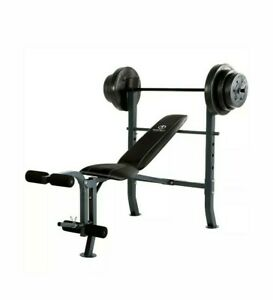 Marcy CB20111 Standard Adjustable Weight Bench with 80lb Weight Set NO CA AND HI