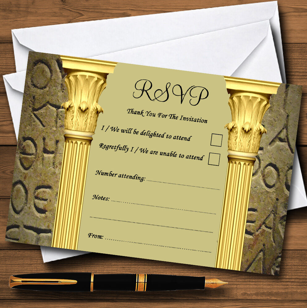 Ancient Greek Greece Toga Personalised Wedding or Party RSVP Cards