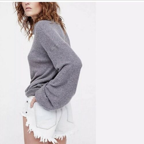 Free People Womens TGIF Pullover Sweater Grey Puff Sleeve Medium M NWT New