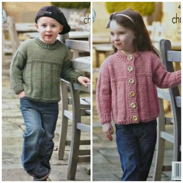 King Cole Chunky Knitting Pattern 4285 Sweater Cardigan Ebay