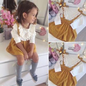 Kids Girl Ruffle Floral Long Sleeves Tops T-Shirt Skirt Dress 2Pcs Outfit Set UK