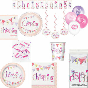 Girls-Pink-Christening-Party-Flag-Themed-Celebration-Tableware-And-Decorations