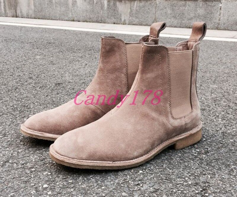Europe Mens Pull On Fashion Suede Leather Chelsea Ankle Boots Plus Size 37-47