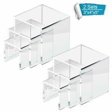 6pc Clear Acrylic Display Risers Jewelry Stands Cases Book Stands Showcase Lot