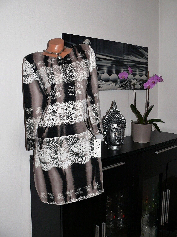 ♥ NKleid Stiefelkleid elegant 3 4 arm braun weiß 42 44 46 48 50 gr ♥