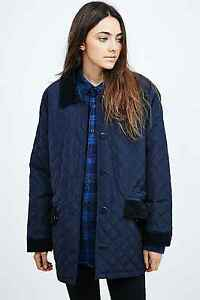 Urban Outfitters Navy Quilted Corduroy Black Coat Jacket
