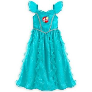 2d86668192 Image is loading Aqua-Shimmery-Ruffled-Double-Layer-Ariel-Nightgown-Dress-
