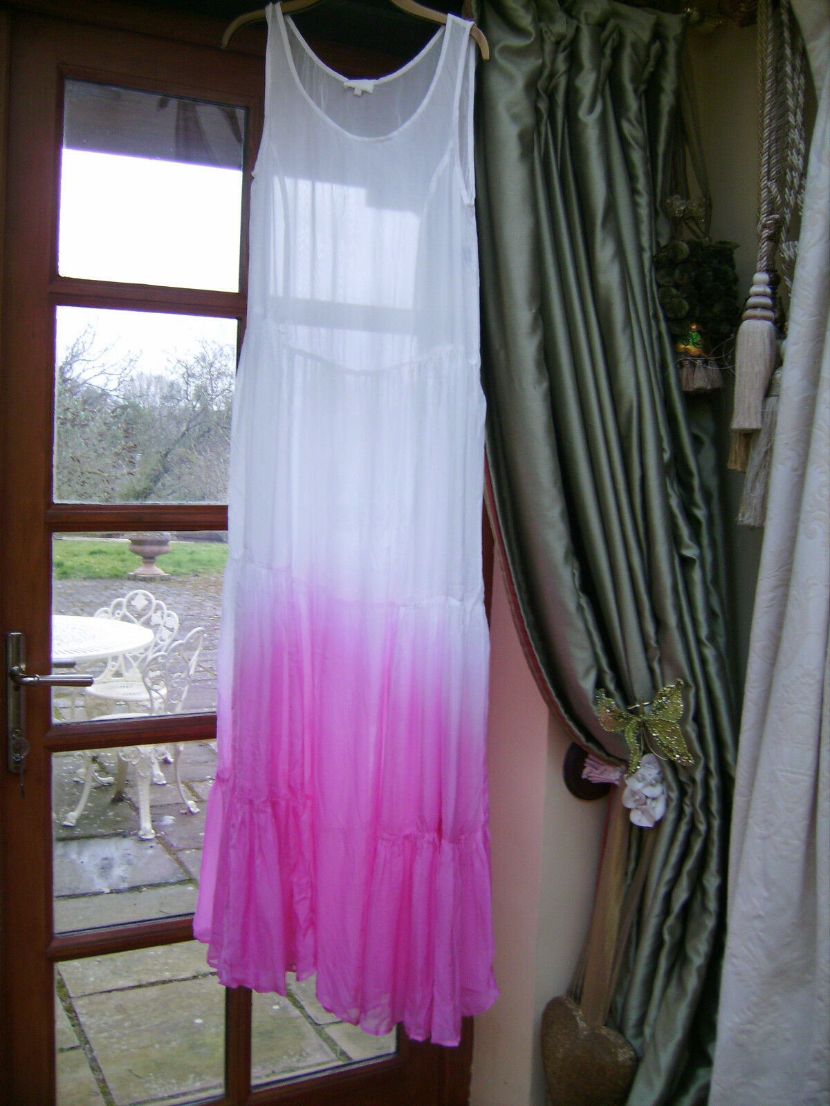 Ghost long dress in Rosa Größe L or 14 see through beach cover up   dress