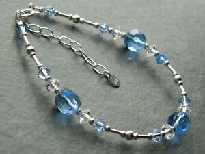 Vintage-Blue-Glass-Beads-Swarovski-Crystal-Elements-amp-Sterling-Silver-Bracelet