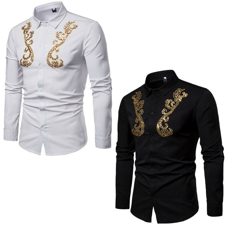 Vogue Mens Spring gold Sequins Lapel Long Sleeve Shirts Gentleman Tops Dress New
