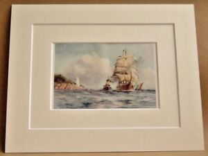 FALMOUTH-ST-ANTHONY-039-S-LIGHTHOUSE-VERY-RARE-ANTIQUE-DOUBLE-MOUNTED-PRINT-1908