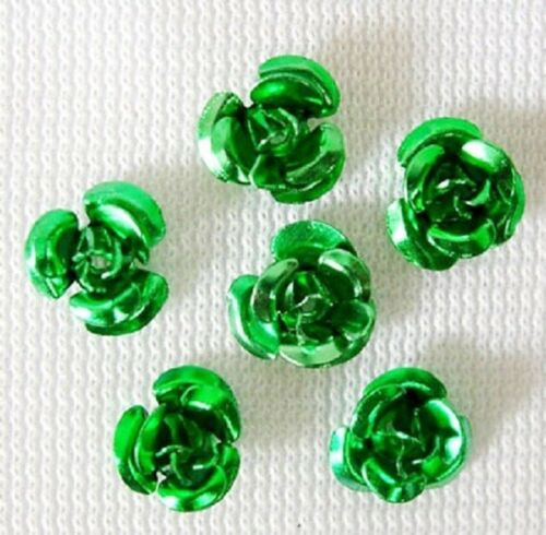50  x 6mm Aluminium Metal Flower Beads Vibrant RED PINK BLACK GREEN