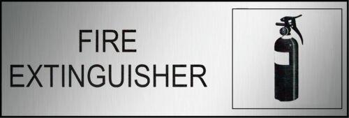Fire Extinguisher Safety Sign Black Brushed Traffolite 300x100mm
