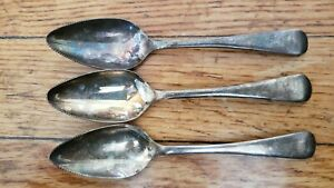 """3 ANTIQUE VINTAGE Collectible SPOONS 5.25"""" SHEFFIELD ENGLAND SILVER PLATE-"""