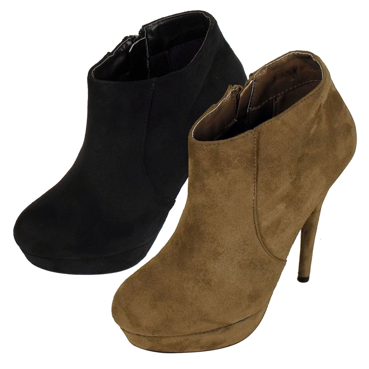 Womens Faux Suede Platform Ankle Boots Shoes Ladies Stiletto Heel Boot Shoe