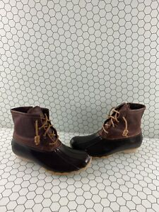 Sperry-Top-Sider-SALTWATER-Brown-Leather-Rubber-Waterproof-Rain-Boots-Womens-7-5