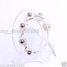 Genuine Natural 7-8mm Black Freshwater Pearl White Shell Flowers Bracelet