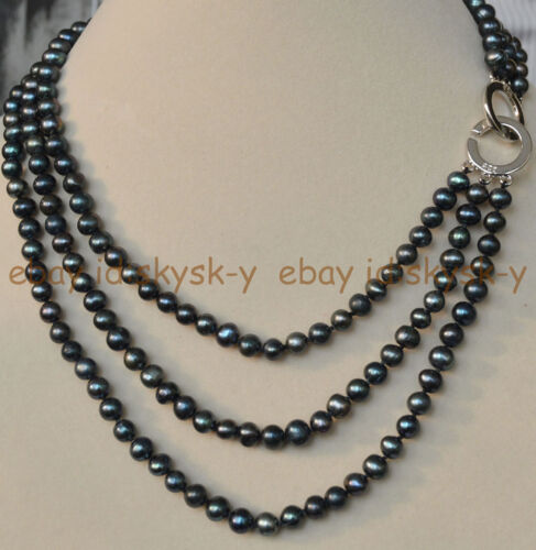 """NATURAL 3 ROWS 6-7MM BLACK TAHITIAN CULTURED PEARL JEWELRY NECKLACE 17-20/"""" AAA"""