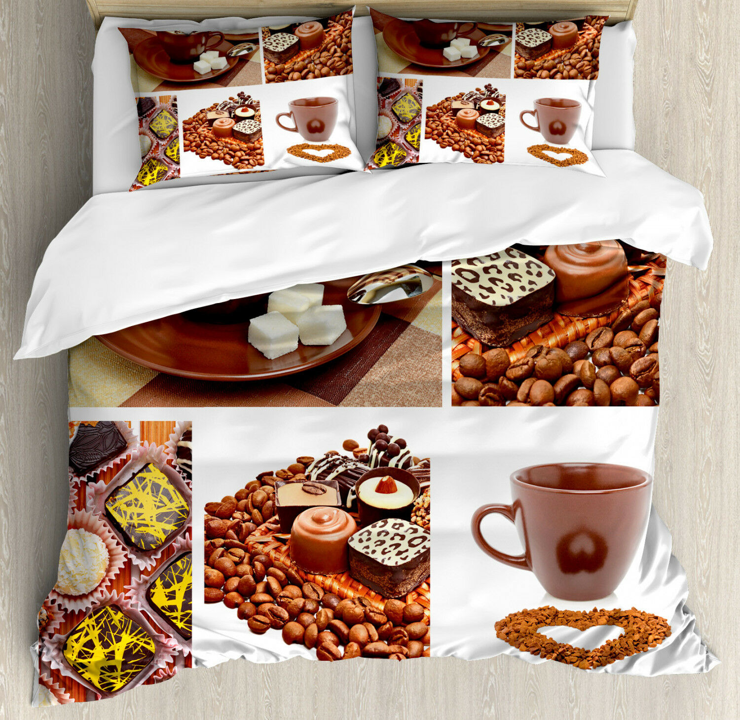 Coffee Duvet Cover Set with Pillow Shams Sweets and Coffee Beans Print