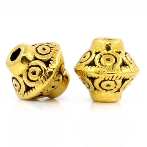 """2//8/""""x2//8/"""" 100PCs Hello Spacer Beads HOT Bicone Gold Tone 7mmx6mm"""