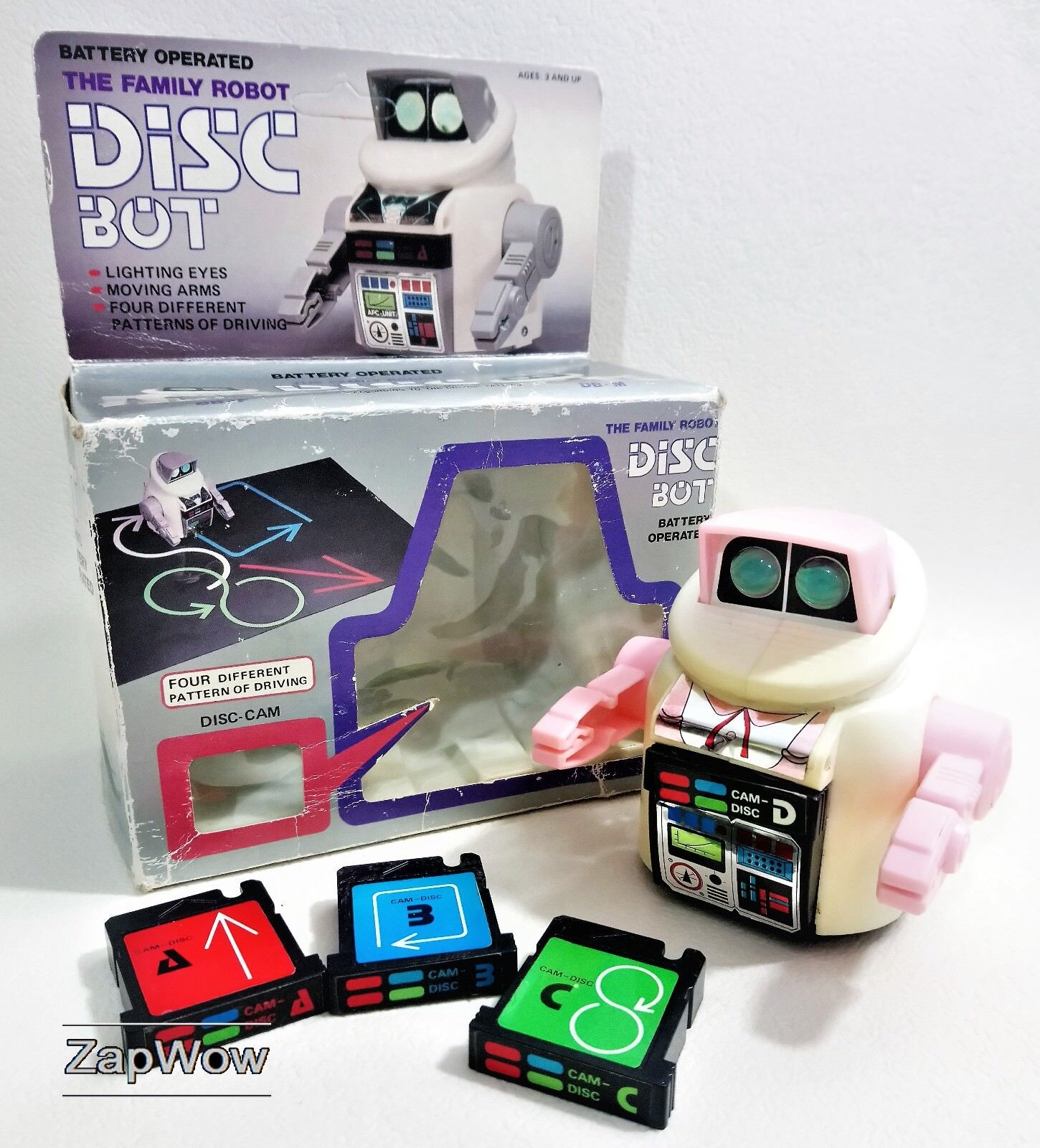DISC BOT DB-F 1980s Robot Action Hong Kong Lights Plastic Battery Vintage