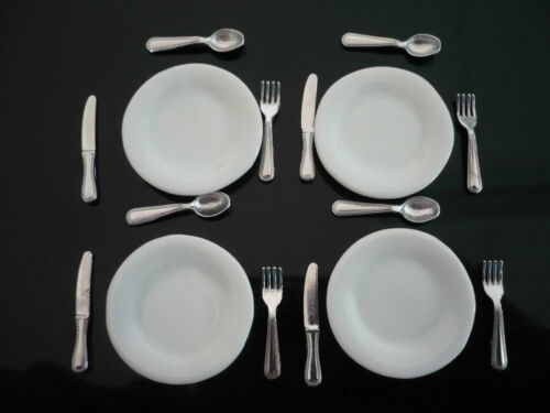 4 Person Table Set Knife Spoon And Plate Dollhouse Miniatures Deco Fork