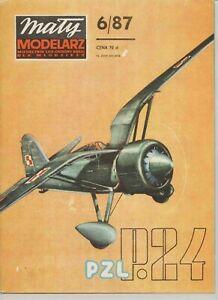 PAPER-CARD MODEL KIT-MALY MODELARZ -PZL P.24