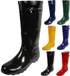 Norty Womens Rain Boots Rubber Solid Color Hi Calf Height Wellies ...