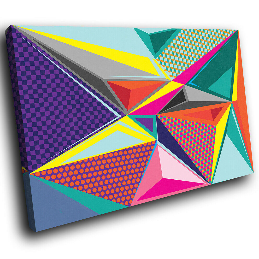 Colourful Retro Funky Abstract Canvas Wall Art Large Picture Prints
