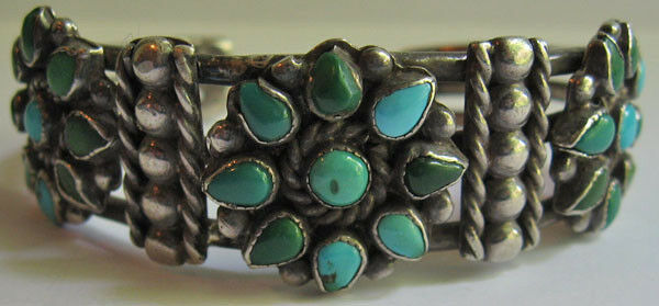 VINTAGE ZUNI INDIAN SILVER BLUE GREEN TURQUOISE CLUSTER CUFF BRACELET