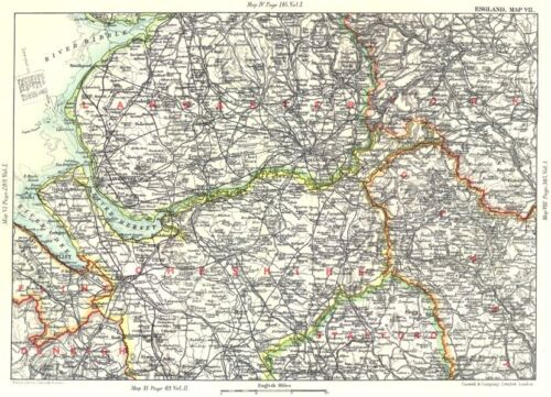 NW ENGLAND Lancashire Cheshire Peak District Liverpool Manchester 1893 map
