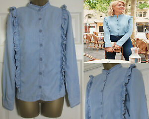 NEW-M-amp-S-Womens-Holly-Willoughby-Denim-Ruffle-Frill-Shirt-Blouse-Top-6-24-RRP-32