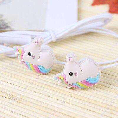 Unicorns Cartoon Earphones Colorful Rainbow Horse In-ear Earphone 3.5mm Earbuds