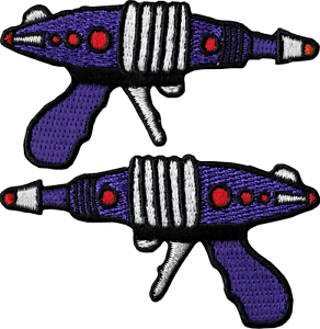 89102 Purple Ray Guns Space Retro Embroidered Sew Iron On Patches Set of 2 New