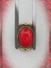 Bague Style Vintage Cléa Perle Corail Rouge Métal Couleur Bronze