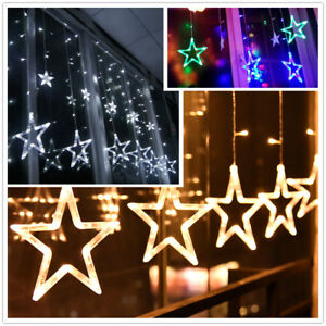 led lichtervorhang weihnachtsbeleuchtung lichterkette licht fenster deko party ebay. Black Bedroom Furniture Sets. Home Design Ideas
