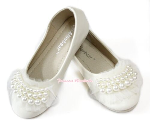 Elegant Beige Cream White Pearl Ruffle Girl Wedding Party Slip On Shoes D01-5