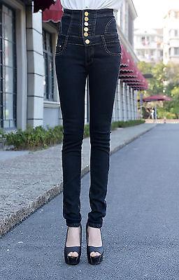 Women Black Casual Plus Slim Jeans Pants High Waist Jeans Denim Trouser S-6XL