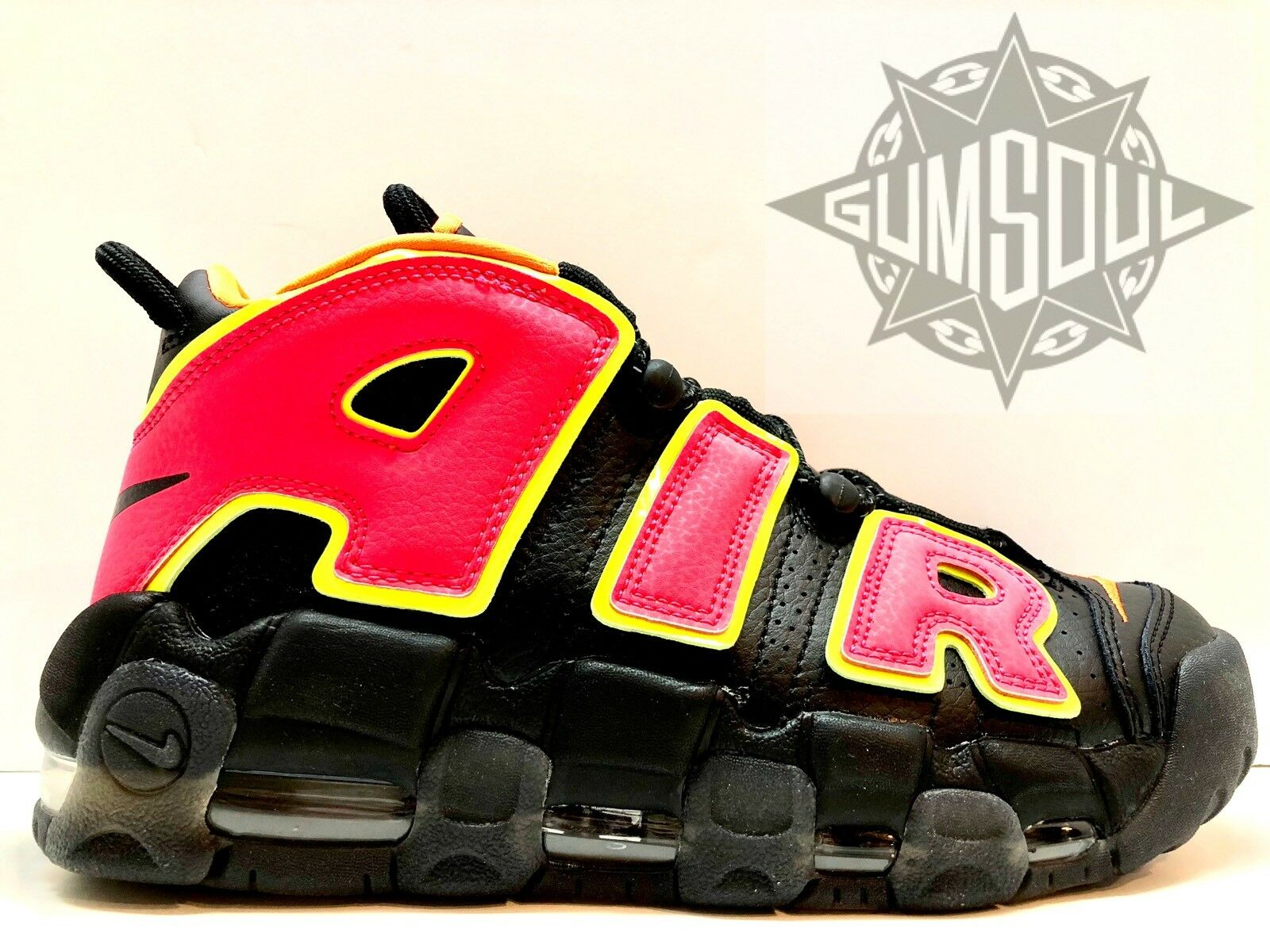 WMNS NIKE AIR MORE UPTEMPO BLACK HOT PUNCH VOLT 917593 002 sz 6.5