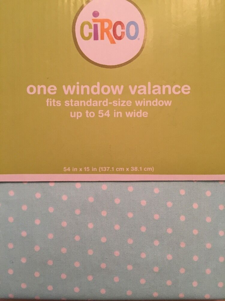 """Circo Blue White Polka Dot Tab Top Window Valance 54/"""" Wide  NEW in Packaging"""